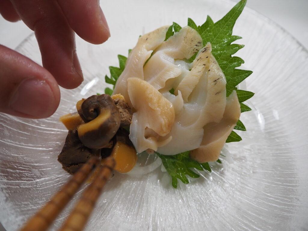 白バイ貝 刺身 盛り付け